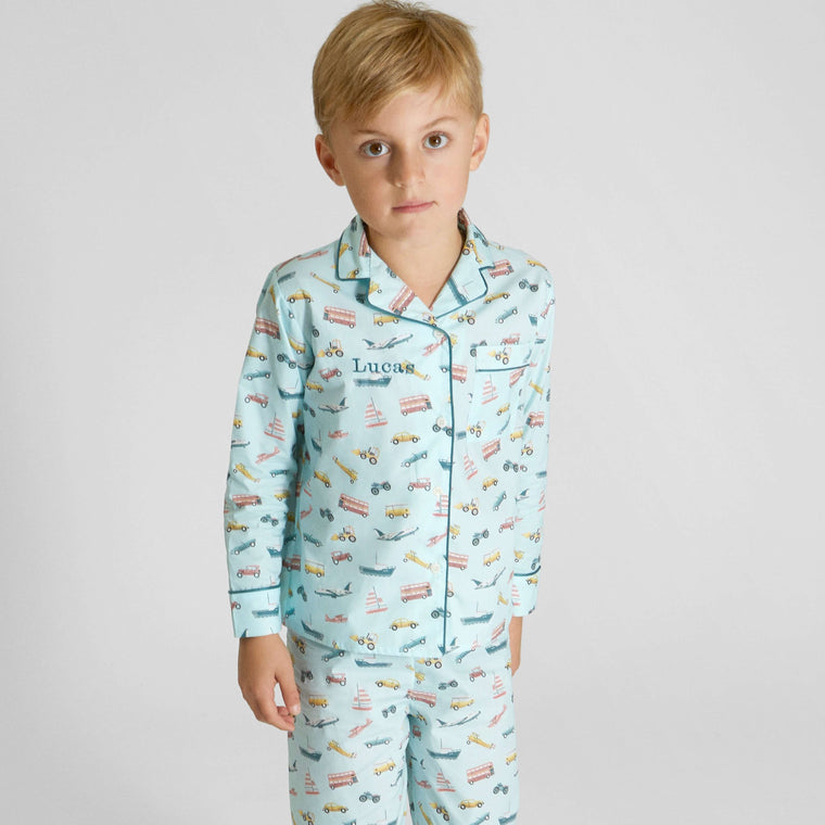 Monogrammed Organic Cotton Transport Pyjama Set