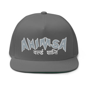 "PEACE GANG ""Ahimsa WORLD PEACE"" Sanskrit High Profile Five Panel  Flat Bill  Cap"