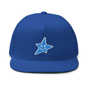 "PEACE GANG "" Smiling Star "" High Profile Five Panel Flat Bill Snap-Back Cap"