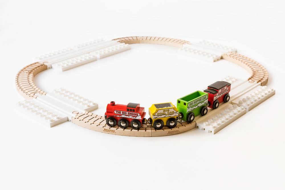 Wooden Train Set with Block Platforms - 16 Piece Set