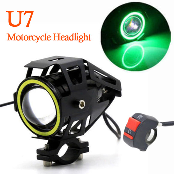 Green Motorcycle Headlight Angel Eyes High/Low Beam LED Fog Spotlight W/Switch