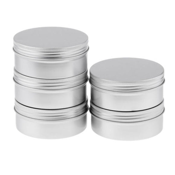 5x Screw Lid Aluminum Tin Jars 8.8oz/250ml Cosmetic Sample Metal Tins Empty Use