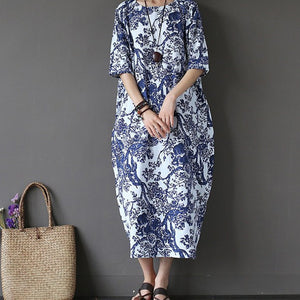 7e6dbaab78 Summer Women s Vintage Loose Short Sleeve Cotton Linen Oversized Dress Baggy