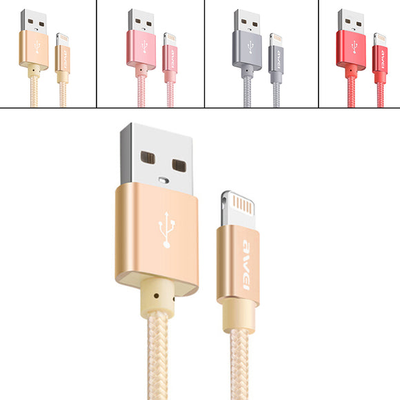 Durable 30cm Knitted Nylon Aluminum Alloy Plug Fast Charger Cable for IOS