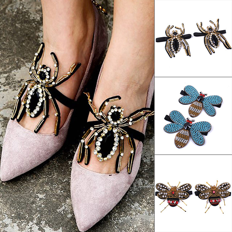 ... 1 Pair Crystal Rhinestone Butterfly Bees Shoe Clips Women Wedding Shoes  Decor ... 06862f99f45e