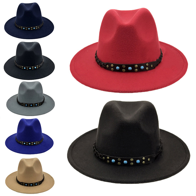 5a09f3096bc Vintaeg Men Women Felt Faux Leather Western Cowboy Wide Brim Panama Hat  Sunhat ...