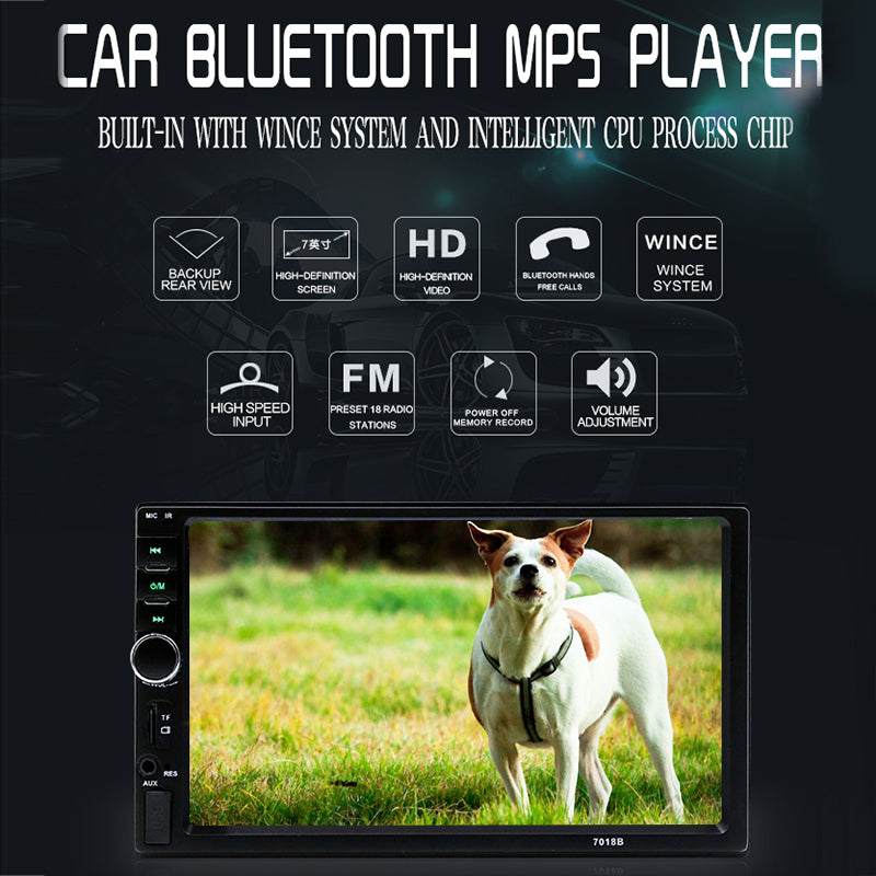 7018B 7 2DIN Car MP5 Player Bluetooth Touch Screen Stereo Radio HD+Rear  Camera