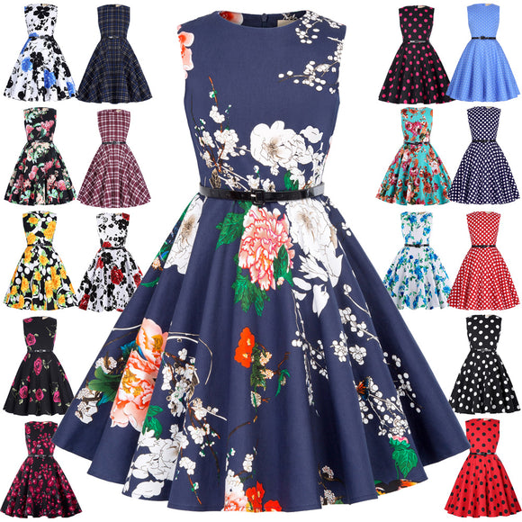 2018 Children Girls Sleeveless Round Neck Vintage Retro Cotton Floral Pattern Dress Hot Sale
