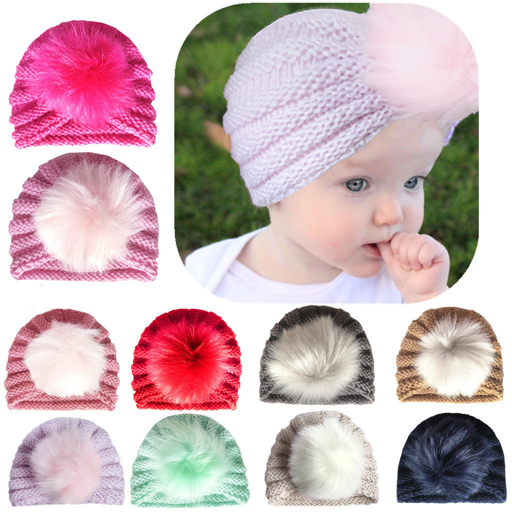 5dffb9f8359 ... Baby Toddler Girls Winter Hats Faux Fluffy Ball Knitted Beanie Turban  Hats Cap ...