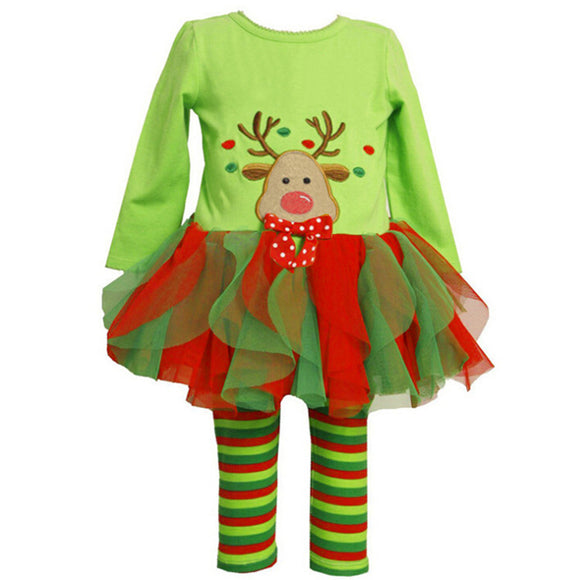 2 pcs Christmas Kids Girls Xmas Long Sleeve Tops Tulle Dress Striped Pants set