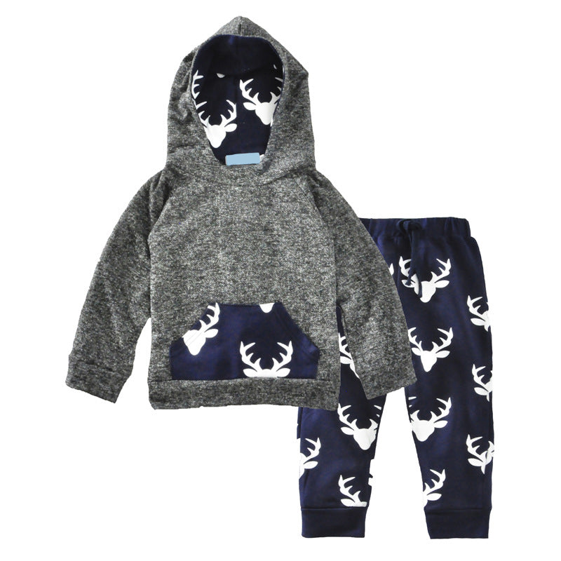 2b9a2589f ... Toddler Baby Boys Winter Hoodie T-shirt Tops Pants Outfits Xmas 2pcs  Set Clothes