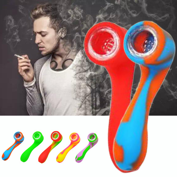 1xSoft Silicone Tobacco Pipe Smoking Set Colorful Cigarette Holder Bowl 112x33mm
