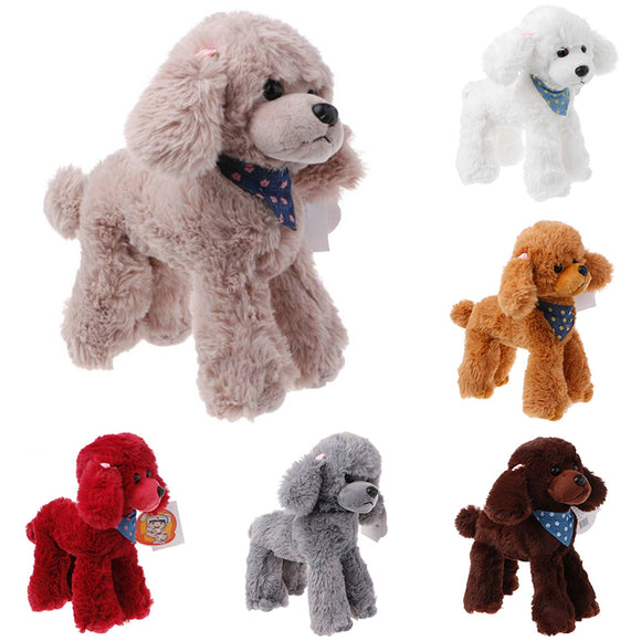 1x Cute Plush Toys Dogs Poodle High Simulation Kids Gifts Doll Stuffed Scarf New