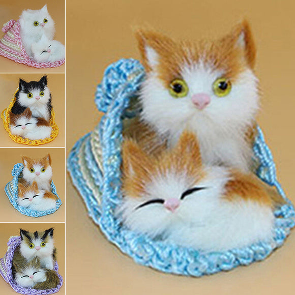 Pocket Simulated Stuffed Kitten Cat Puppy Doll Plush Toy Kids Gift Home Decor
