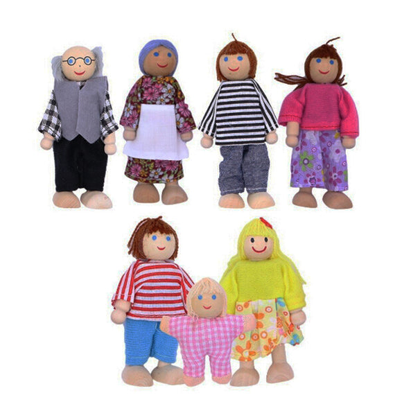 7pcs Wooden Furniture Dolls House Family Miniature Doll Toy Pre-School Kid Child