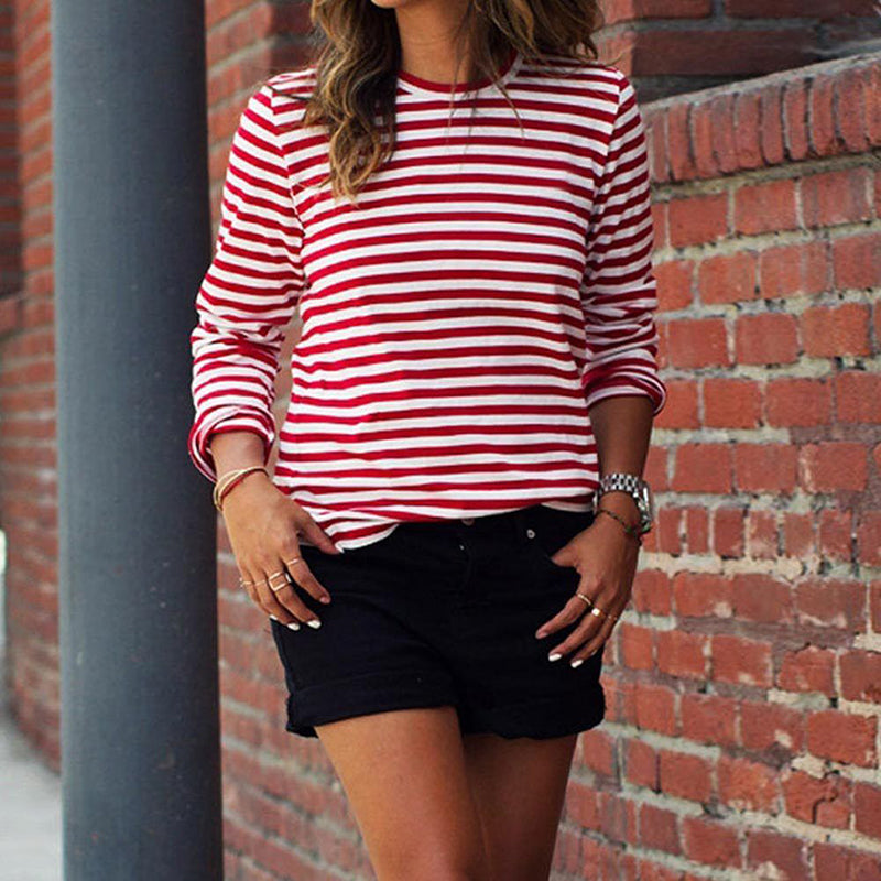 75d9cdd3e0 ... Women's Crew Neck White & Red Striped T-Shirts Long Sleeve Blouse Tee  Tops S