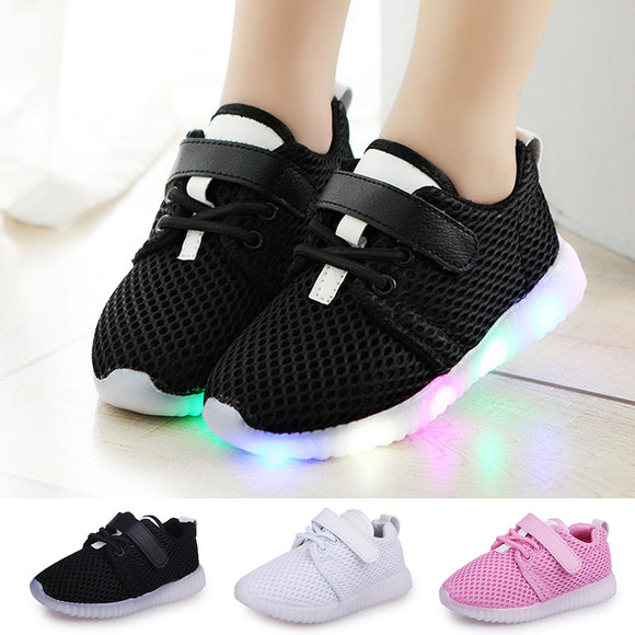 Cute Sneakers LED Baby Boys Girls Shoes Kids Light Up Luminous Child Trainers