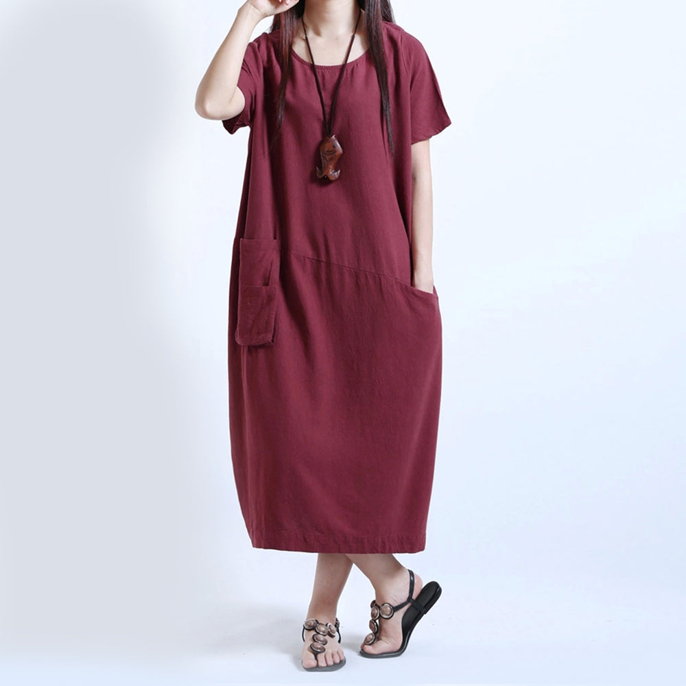 1025459e8 Cotton Solid Short Sleeve Maxi Dress