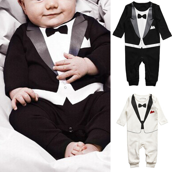 Boy Gentleman Formal Suit Romper Baby Pants One-piece Bow Jumpsuit Clothes Kits
