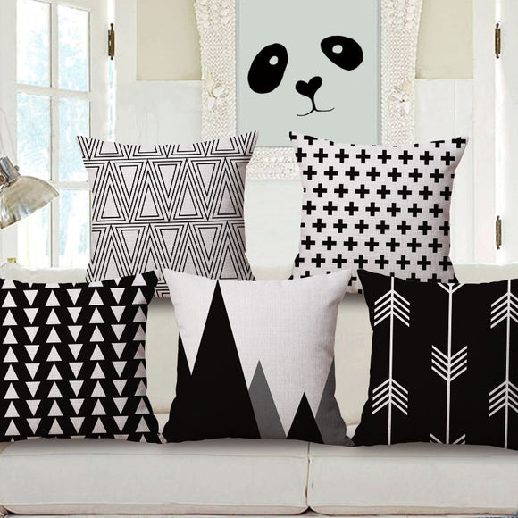 Black White Cotton Linen Throw Cushion Cover Pillow Case Waist Home Sofa Decor (Case only,Pillow Not included)