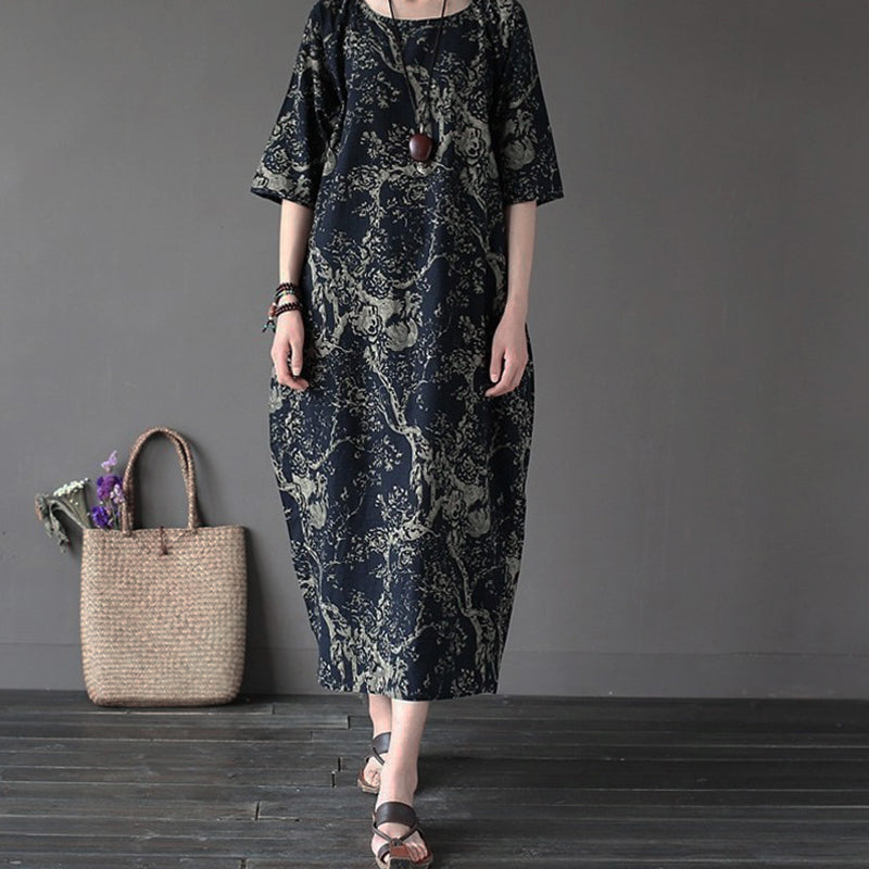6245771d2d ... Summer Women s Vintage Loose Short Sleeve Cotton Linen Oversized Dress  Baggy ...