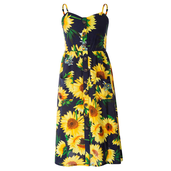 Maacie Child Kids Girls Sunflower Spaghetti Straps Rayon A-Line Dress Clothes G1