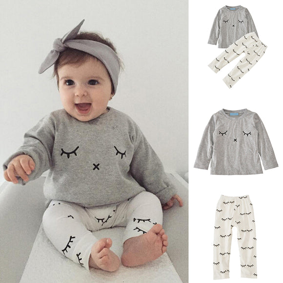 Newborn Kid Cartoon Cute Baby Child Infant Fashion Casual Long Sleeve Tops+Pants