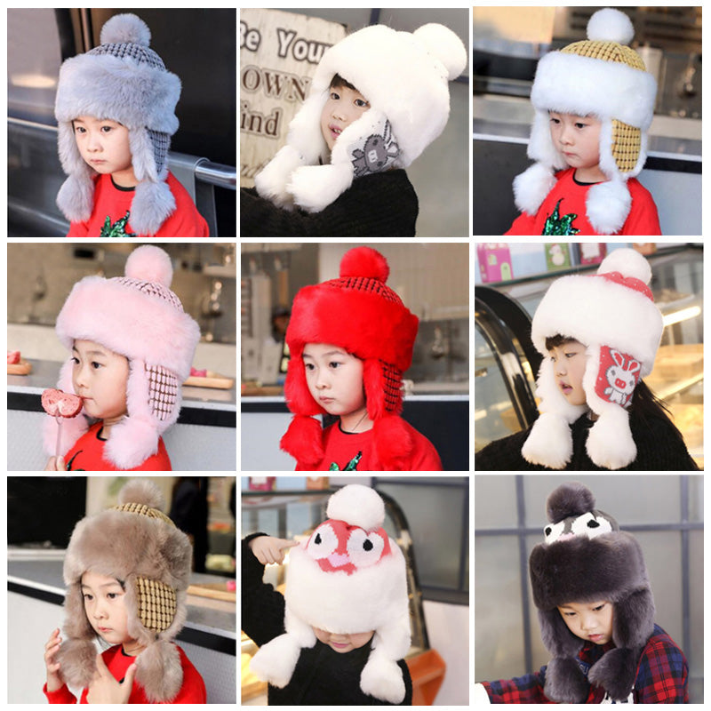 2018 New Winter Kids Child Knitted Faux fur Ushanka Hat Cute Cap 54cm   21.3inch ... ea6796c449f