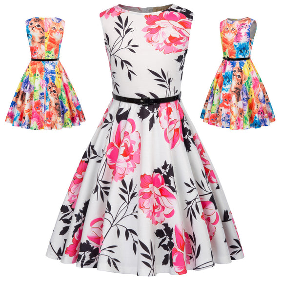 Children Girls Vintage Flower/Cat Print Sleeveless Scoop Neck Party A-Line ress