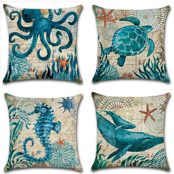 1PC Home Decor Square Linen Sea Beach Scenery Printed Throw Pillow Case