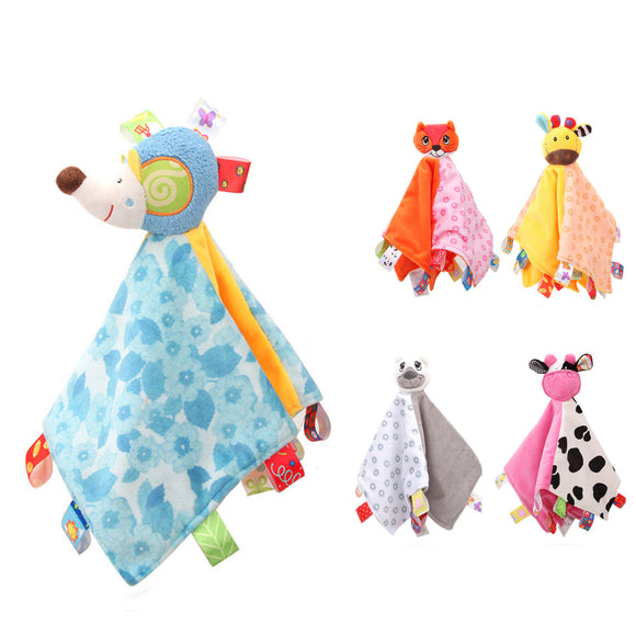 Baby Boy Girl Cute Animal Rattle Sleeping Plush Toy Comforter Security Blanket