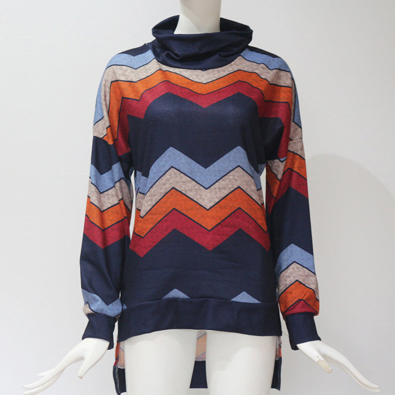 2ae18fc6a0d ... Women s Plus Size Casual Long Sleeve Roll-Neck Geometric Print Tops  Slim Fit New