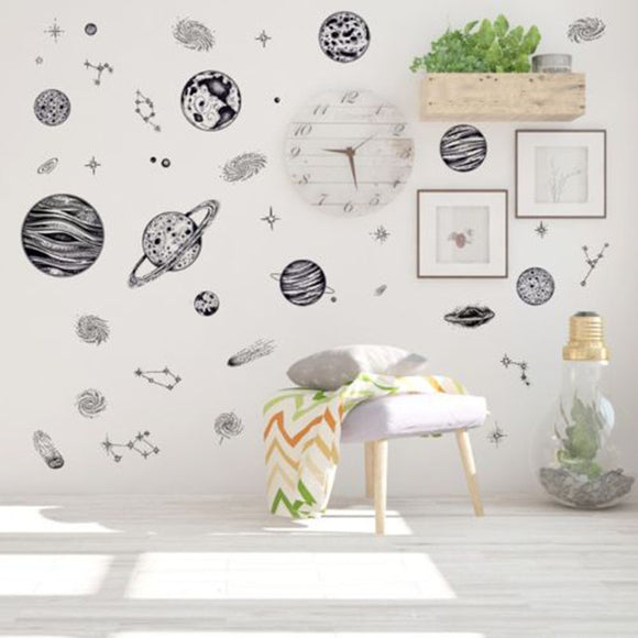 2019 Sketch Space Planet Removable Wall Art Sticker PVC DIY Decal Home  UK.