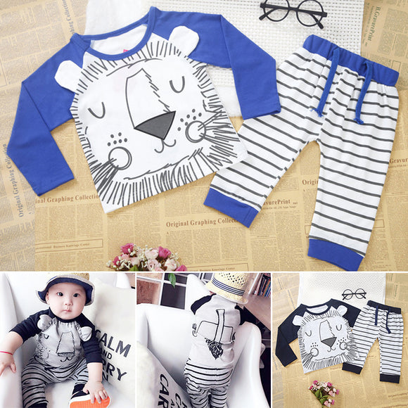 2pcs Kids Boys Cotton Tiger Printed Long Sleeve Tops Striped Pants Trousers Set