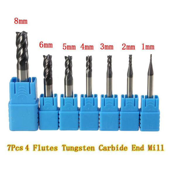 7x Per Set (1~8mm) 4 Flutes Tungsten Carbide End Mill CNC Straight Shank Cutter