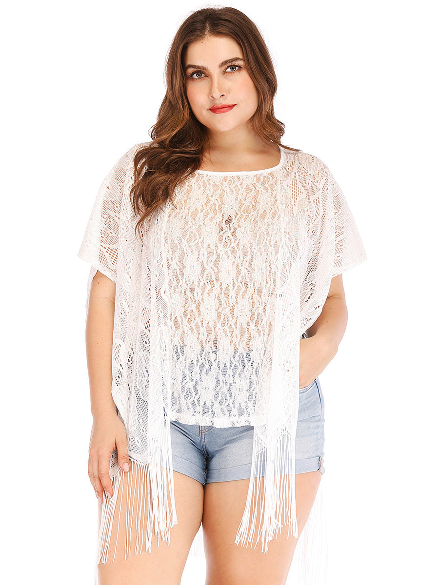 ... Women Summer White Lace Crochet Cover Up Tops Loose Oversized T-shirt  Blouse c74adc3605
