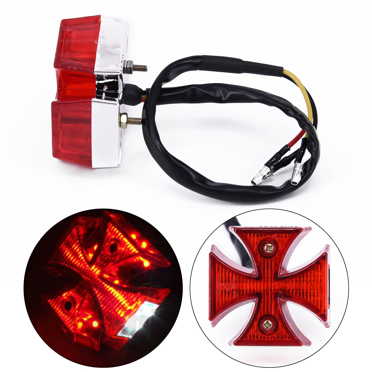 Automobiles & Motorcycles Dc 12v Universal Led Motorcycle Quads Maltese Cross Tail Brake Lamps Rear Lights Accessories