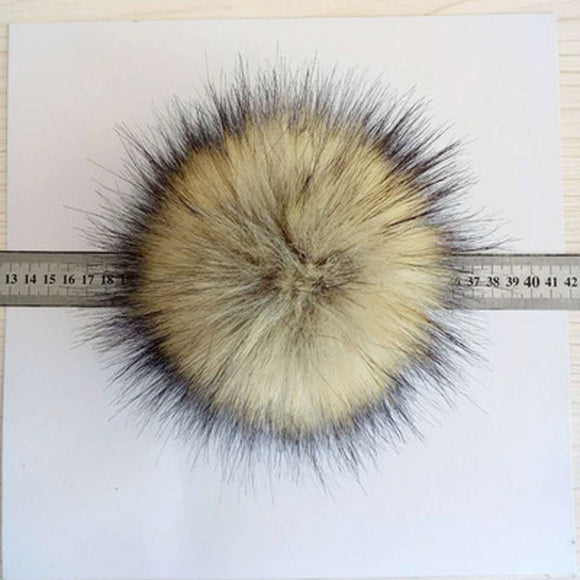 86fd974c224 1pc Faux Fox Fur Pom Pom with Press Fake Fur Hat Bubble Removable Decor