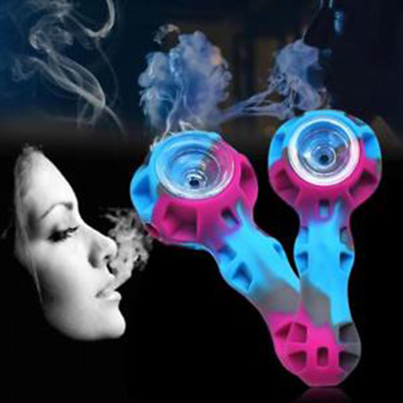 Organic Silicone Tobacco Herb Pipe With Glass Bowl Smoking Pipes 108mm Durable