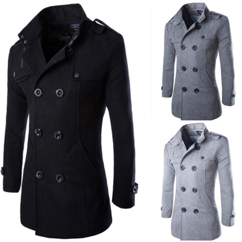 b4bd6cb883e New Mens Winter Warm Long Trench Coat Jackets Double Breasted Peacoat Plus  Size ...