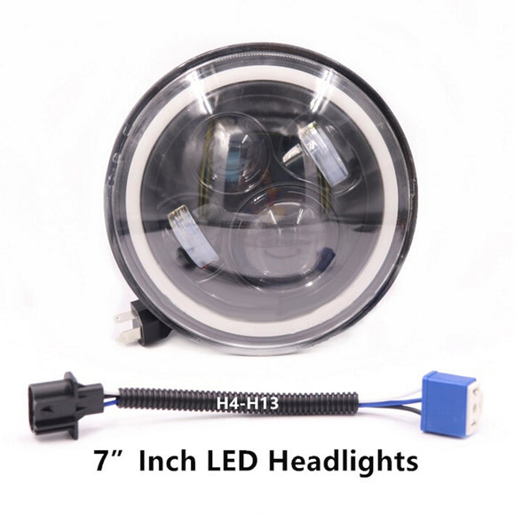 7 Inch Round LED Halo Angel Eyes Headlights For Jeep Wrangler TJ/LJ/CJ/JK DOM