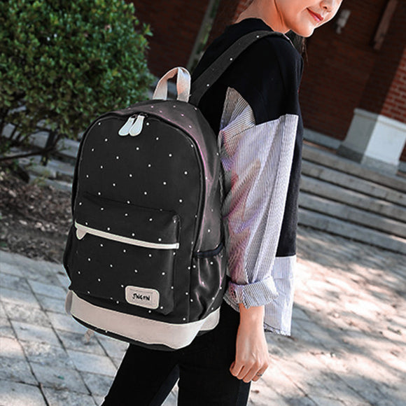 3 in 1 Student Fashion Dot Black Durable Canvas Backpack+Cross Body Bag+Handbag