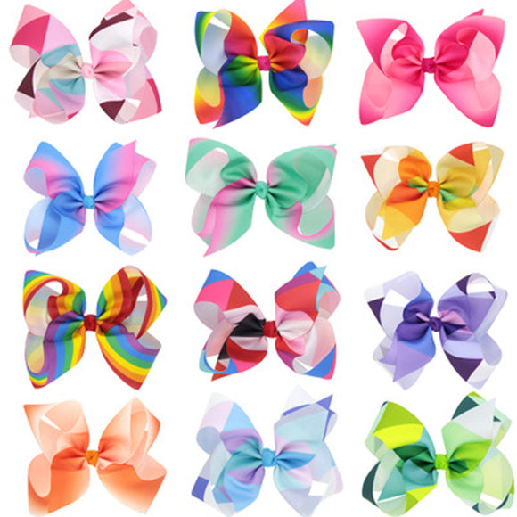 Cute Girl Rainbow Bows Hairpin Large Rib Grosgrain Ribbon Bow Hair Clip Baby