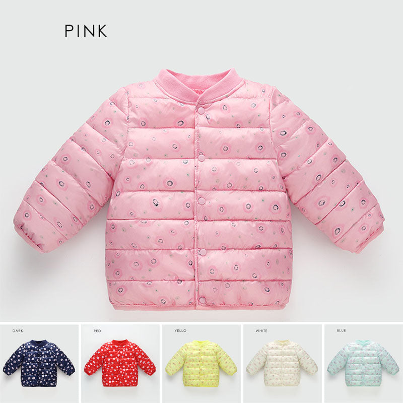 5faa81beb ... Kids Baby Girls Boys Snow Floral Print Padded Coat Jacket Thick Winter  Casual ...