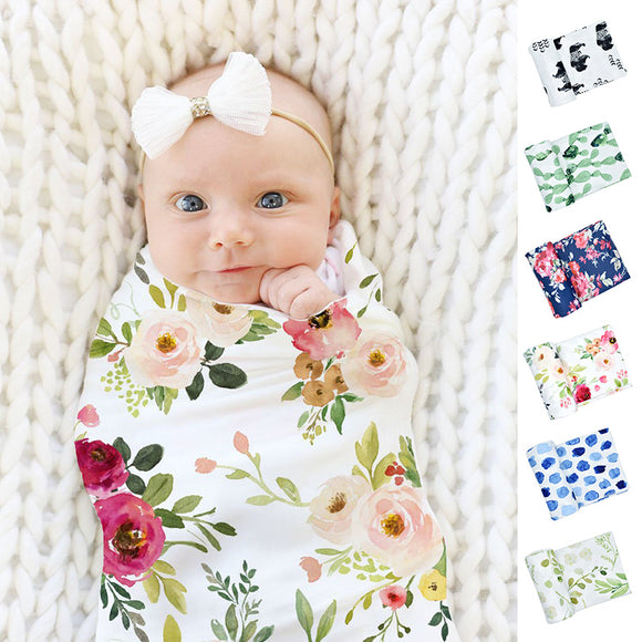 Newborn Baby Floral Printed Wrap Cloth Swaddle Wrapping Towel Blanket Oversized