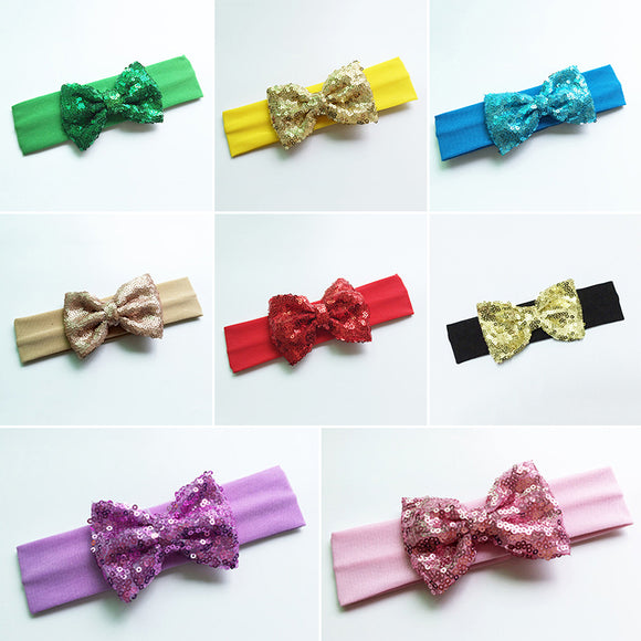 Baby Newborn Infant Girls Hair Band Sequined Bow Headband Knot Hair Accessories