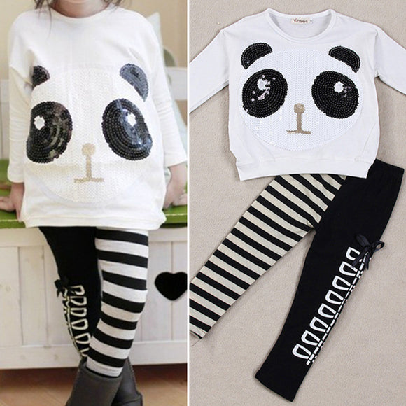 2pcs Cotton Toddler Infant Girls Outfits panda coat striped pants Kids Clothes
