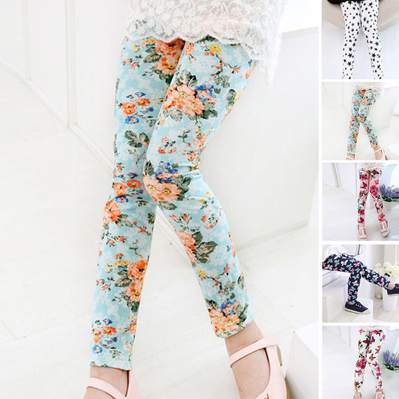 2-11Y Children Kids Girls Leggings Flower Floral Print Pants Stretchy Trousers