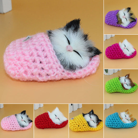 Soft Plush Doll Toy Simulated Cute Slipper Kitten Cat with Sound Home Ornament