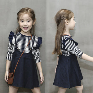 22f0af558 2pcs Toddler Kids Baby Girls Outfits Long Sleeve T-Shirt Tops W/ Skirt Dress